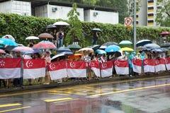 Linea pubblica strada per passare bara di ex primo ministro di Singapore, Lee Kuan Yew Fotografia Stock