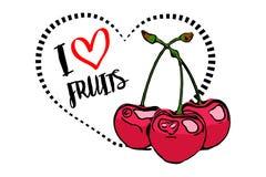 Linea punteggiata forma del cuore del nero con il fumetto disegnato tre ciliege rosse su priorità alta illustrazione vettoriale