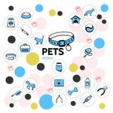 Linea raccolta degli animali domestici delle icone illustrazione vettoriale