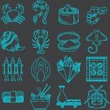 Linea raccolta dei frutti di mare delle icone Fotografia Stock Libera da Diritti