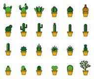 Linea riempita cactus icone Immagine Stock