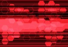 Linea rossa astratta vettore futuristico di esagono del fondo di progettazione di tecnologia Fotografia Stock Libera da Diritti