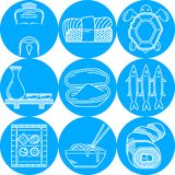 Linea rotonda blu icone per il menu giapponese Immagini Stock Libere da Diritti