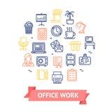 Linea rotonda concetto del modello di progettazione di colore del lavoro d'ufficio dell'icona Vettore Fotografia Stock Libera da Diritti