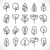 Linea semplice insieme delle icone degli alberi illustrazione vettoriale