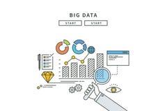 Linea semplice progettazione piana di grandi dati, illustrazione moderna Immagini Stock Libere da Diritti