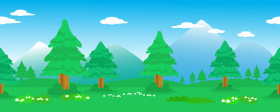 Linea senza cuciture dei pini nel paesaggio della montagna Fotografia Stock Libera da Diritti