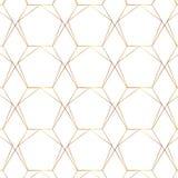 Linea senza cuciture modello moderno geometrico dell'oro Fondo con il rombo, i triangoli ed i nodi Struttura dorata royalty illustrazione gratis