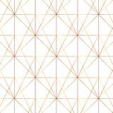 Linea senza cuciture modello moderno geometrico dell'oro Fondo con il rombo, i triangoli ed i nodi Struttura dorata illustrazione vettoriale