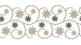 Linea senza cuciture perle e fiocchi di neve del fom del modello per il Natale dicembre Fotografie Stock Libere da Diritti