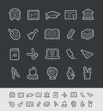 Linea serie del nero di //delle icone di istruzione Fotografie Stock Libere da Diritti