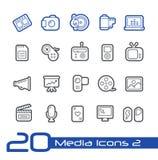 Linea serie di //delle icone di media Fotografia Stock Libera da Diritti