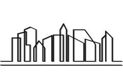 Linea siluetta della città Fotografia Stock