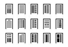 Linea società delle icone messa su fondo bianco, allineamento dei fabbricati nero raccolta di vettore, illustrazione isolata di a illustrazione vettoriale