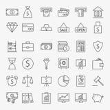 Linea soldi di attività bancarie ed insieme delle icone di finanza grande illustrazione di stock