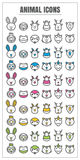 Linea sottile animale vettore rosa blu delle icone di verde giallo del nero di colore Immagini Stock