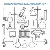 Linea sottile attrezzatura di laboratorio chimica illustrazione vettoriale