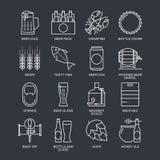 Linea sottile concetto di logo della birra Icone lineari dei grafici di web messe Fotografia Stock