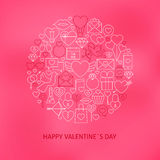 Linea sottile concetto di Valentine Day Icons Set Circle Fotografia Stock