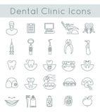 Linea sottile dentaria icone del piano di servizi della clinica Fotografie Stock