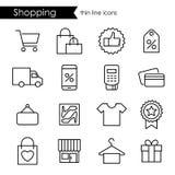 Linea sottile di compera icone, colpo regolabile Fotografie Stock Libere da Diritti