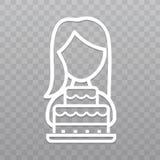 Linea sottile donna con l'icona del dolce Segno della torta nunziale su fondo trasparente Fotografia Stock Libera da Diritti