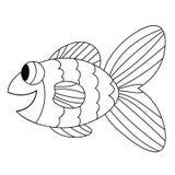 Linea sottile felice pesce sveglio di scarabocchio del fumetto Animale tropicale allegro disegnato a mano dell'acquario illustrazione di stock