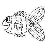 Linea sottile felice pesce sveglio di scarabocchio del fumetto Animale tropicale allegro disegnato a mano dell'acquario royalty illustrazione gratis