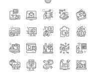 Linea sottile griglia 2x delle icone 30 di vettore perfetto del pixel Ben-elaborata economia di Digital per i grafici ed i Apps d illustrazione vettoriale