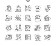 Linea sottile griglia 2x delle icone 30 di vettore perfetto del pixel Ben-elaborata riassunto di lavoro per i grafici ed i Apps d illustrazione di stock