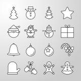 Linea sottile icona del buon anno e della festa di Natale royalty illustrazione gratis