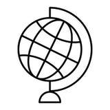 Linea sottile icona del globo del mondo Illustrazione di vettore del globo della Tabella isolata su bianco Progettazione di stile illustrazione di stock