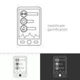 Linea sottile icona di concetto del gamification di sanità Illustrazione Vettoriale