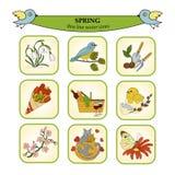 Linea sottile icone colorate della primavera di vettore illustrazione vettoriale