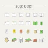 Linea sottile icone del libro Immagini Stock