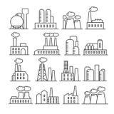 Linea sottile icone della pianta e della fabbrica di vettore illustrazione di stock