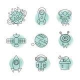 Linea sottile icone dello spazio messe Fotografia Stock