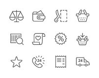 Linea sottile icone di acquisto messe. Royalty Illustrazione gratis