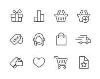 Linea sottile icone di acquisto messe. Illustrazione Vettoriale