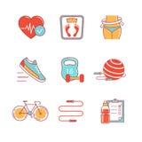 Linea sottile icone di stile di vita sano e di forma fisica messe royalty illustrazione gratis