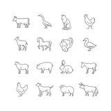 Linea sottile icone di vettore degli animali da allevamento messe Fotografia Stock Libera da Diritti