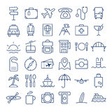 Linea sottile icone di viaggio messe Immagine Stock