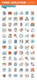 Linea sottile icone di web degli elementi essenziali di affari Fotografia Stock
