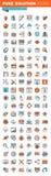 Linea sottile icone di web per progettazione e sviluppo Fotografia Stock