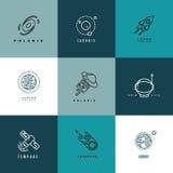 Linea sottile icone e logos di astronomia dell'universo di vettore messi illustrazione vettoriale