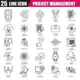Linea sottile icone messe della gestione di progetti Fotografia Stock Libera da Diritti