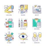 Linea sottile icone messe di vita del diabete Vettore piano Immagini Stock