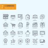 Linea sottile icone messe Icone per il commercio elettronico, acquisto online Fotografia Stock