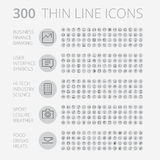 Linea sottile icone per l'affare, la tecnologia e lo svago Fotografia Stock Libera da Diritti