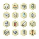 Linea sottile icone per Varie Fotografia Stock